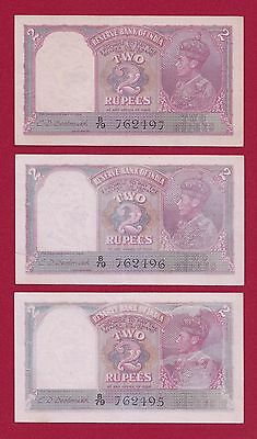 three consecutive India 2 Rupees ND(1937)  P-17b . XF- AUNC