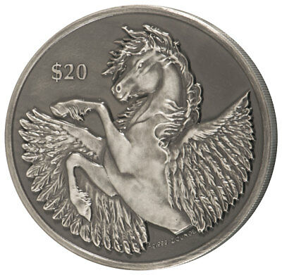 2018 British Virgin Isl 2 oz HR Silver Pegasus Antiqued $20 Coin GEM BU SKU54334