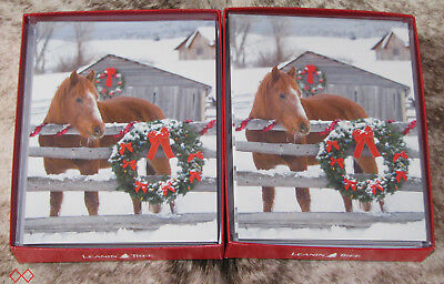 LEANIN TREE Horse at Fence with Christmas Wreath~24 cards/envelopes~Notelets