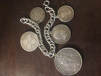 Sterling silver British crown florin Canadian silver coin bracelet