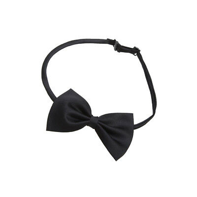 """Mens Satin Bow Tie Adjustable Neck Strap to approx 17.5"""" Classic Solid Black"""