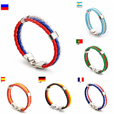 2018 World Cup National Flags Charm Bracelet Leather Braided Rope Wristband