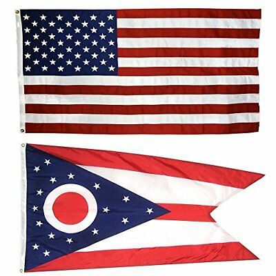 US Flag with Ohio State 3 x 5 100% American Made Nylon Flags Garden Décor Yard