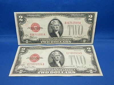 Set of 2 Red Seal $2 US Notes 1928C, 1928G - Very Fine