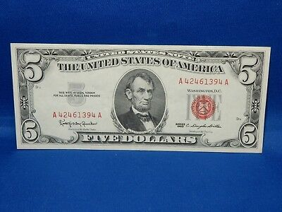 1963 Red Seal $5 US Note - About Uncirculated