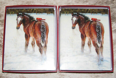 LEANIN TREE Foal with Cardinal Snowy Christmas ~ 24 cards/envelopes ~ Notelets