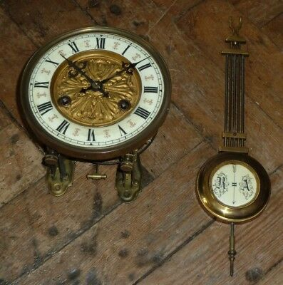 Vintage wall clock movement with dial sleigh & pendulum - for spares