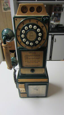 Vintage Style Wall Telephone / Clock, Spirit of St. Louis, Faux Wood & Green