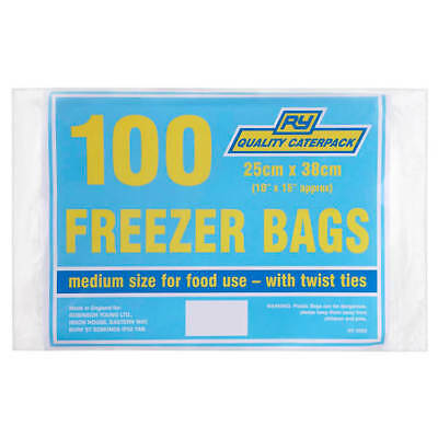 CaterPack Food/Freezer Bags Medium 250mm with Twist Ties 360 Pack 100