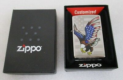 Zippo Windproof Lighter With Bale Eagle And American Flag 28449