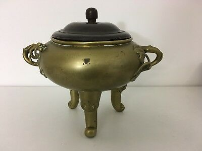 Chinese Bronze Tripod Censer Incense Burner Late Qing Dynasty