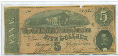 Authentic 1864 $5 Confederate Note Csa Civil War