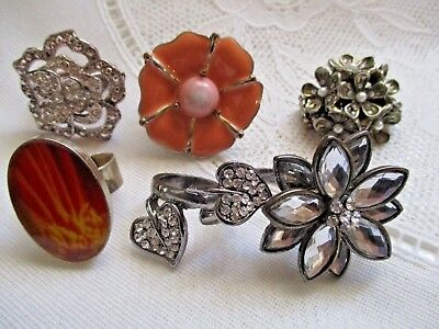 Lot Of 5 Vintage Floral Rings-Peach Rhinestones Red Yellow Double Ring +++