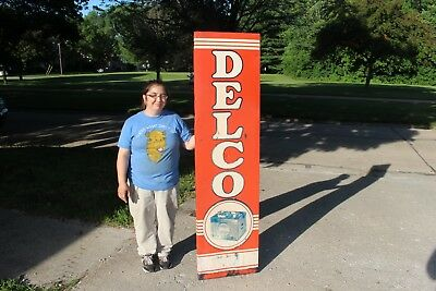 "Large Vintage 1951 Delco Batteries Chevrolet Gas Station Oil 71"" Metal Sign"