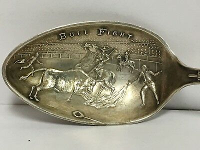 Sterling Silver & Enameled Mexico Bull Fight Souvenir Travel Spoon