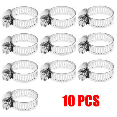 """10Pcs 1/2""""-3/4"""" Adjustable Stainless Steel Drive Hose Clamp Fuel Line Worm Clip"""