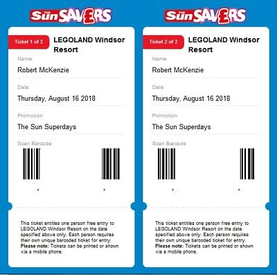 2 tickets for Legoland for 16 August