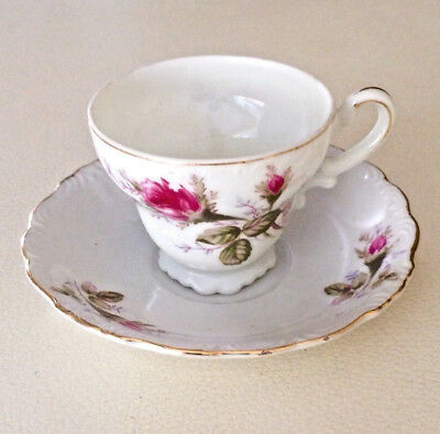 Vintage Cup And Saucer Roses Gold Trim -  1950's