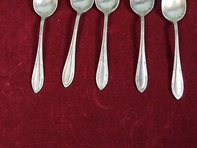 5 Antique SILVER Sheffield Engrald Coffee Spoons