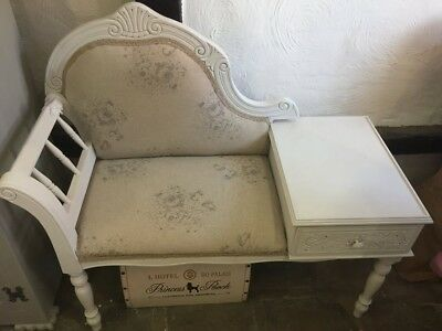 Stunning vintage telephone table re-upholstered in French vintage fabric