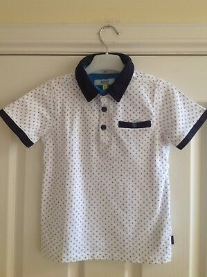 Boys Ted Baker Polo Shirt Age 6-7 Years Summer Holidays White