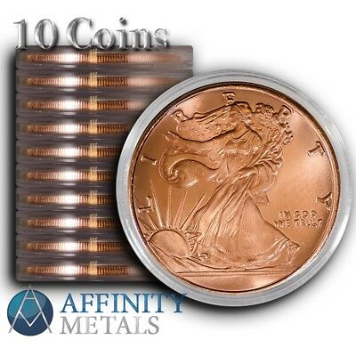 10 Coins-  Walking Liberty 1 oz .999 Copper Bullion Rounds  In Caps!