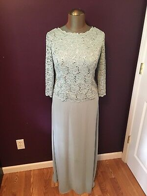 Alex Evenings Mother of the Bride Groom Formal Dress Womens Size 10 Sage Green