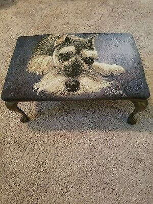 Linda Picken Vtg Schnauzer Dog Foot Stool w/ Metal Brass Legs Tapestry Foot rest