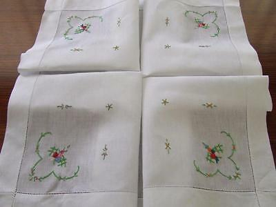 Hand Embroidered Vintage Tablecloth - Simple Little Floral Corners 91 x 88 cm