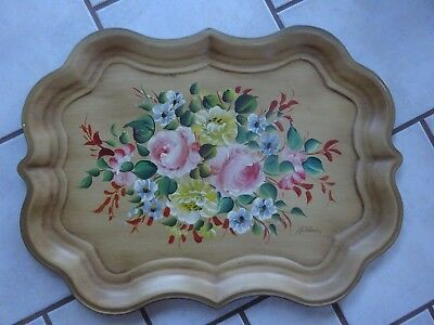 "Big 27"" Vintage NASHCO PRODUCTS Hand Painted Floral Tray - Signed La Verni"