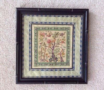Vintage Chinese Japanese Hand Embroidered Silk Picture Garden Scene Bamboo Frame
