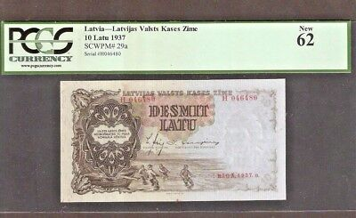 Latvia 10 Latu P29 A 1937 Pcgs Boat Unc Pre Euro Bank Note Currency Money Bill