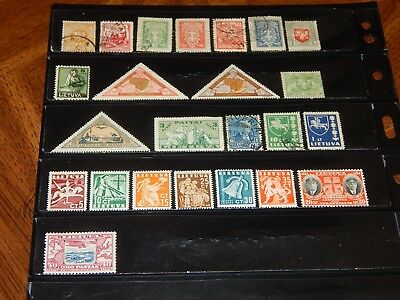 Lithuania stamps - 24 mint hinged and used early stamps - great group !!