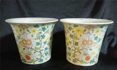 Antique Chinese Porcelain Planters Famille Rose Signed Qianlong