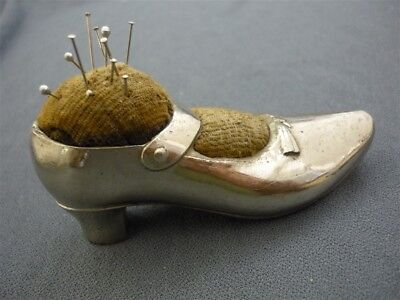 Antique Figural Shoe SILVER PLATED Pin Cushion Sewing
