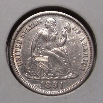 1891 Seated Liberty Silver Dime , AU