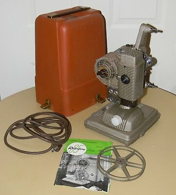 VINTAGE REVERE MODEL 85 8mm FILM PROJECTOR COMPLETE WITH MANUAL CORD REEL & CASE
