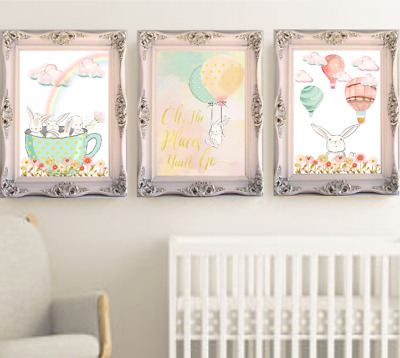 Bunny Rabbit Nursery Prints Set OF 3, Baby Girl Room Hot Air Balloons Printable