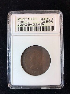 1808 Large Cent 1¢ VF Details Net VG 8