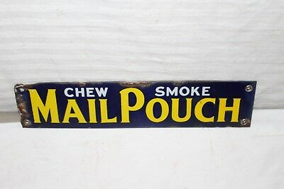 Vintage c.1915 Mail Pouch Chewing Pipe Tobacco Gas Oil Porcelain Metal Sign
