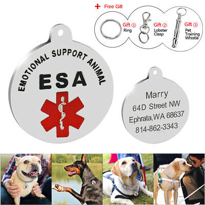 Emotional Support Therapy ESA Personalized Dog Tags Name Engraved Free Whistle