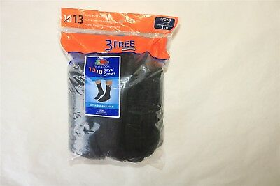LOT OF 13 PAIR FRUIT OF THE LOOM Boy'sExtra Durable Sole Crew Socks BLACK - 3-9