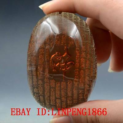 23.8g 100% Natural Baltic Amber Stone Hand-carved Heart Sutra Statue Pendant L17