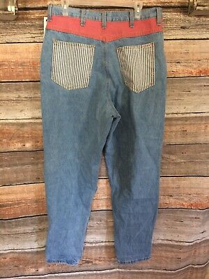 Nwt Zena Jeans Vtg 80's Stripe Tapered Leg High Waisted Mom Jeans Size 18