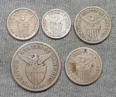 Lot Of 5 Philippines Silver Coins - 1903 & 1907 S 10 Centavos, Etc.