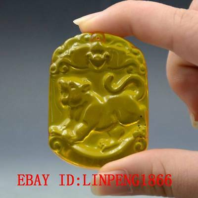 20.4g100% Natural Amber Beeswax Baltic Hand-carved Leopard Pendant L49