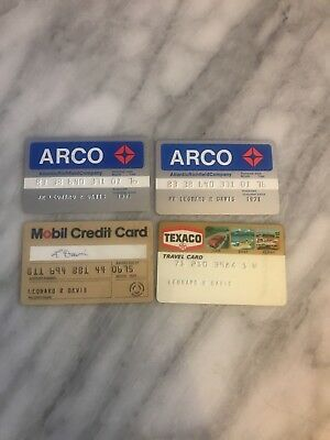 Lot Of 4 1970s Gas Credit Cards Card Arco Mobil Texaco