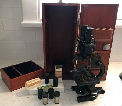 Antique Spencer Microscope with case and accessories