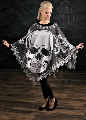Hawthorne Gardens Halloween Skull Pancho Adult Woman One Size NEW! MADE IN USA!