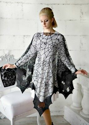 Bats & Spider Web Pancho Adult Woman One Size NEW! MADE IN USA! Halloween Witch